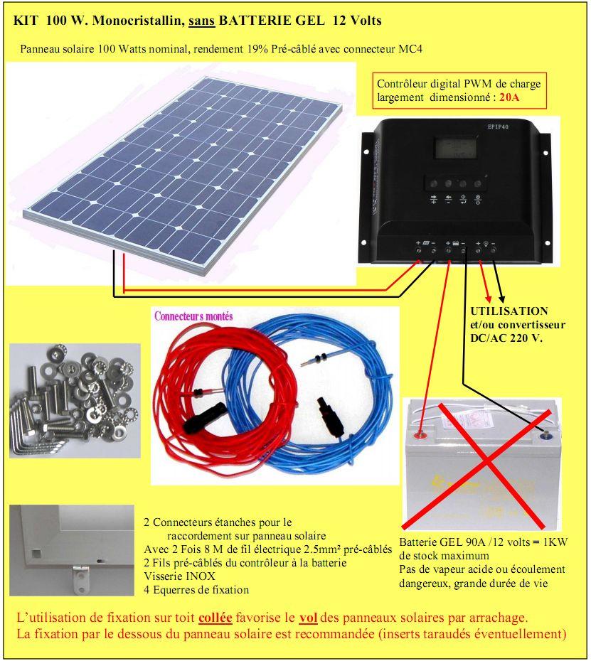 Dtails annonce kit solaire camping car mobil home bateau chalet - Panneau solaire mobil home ...
