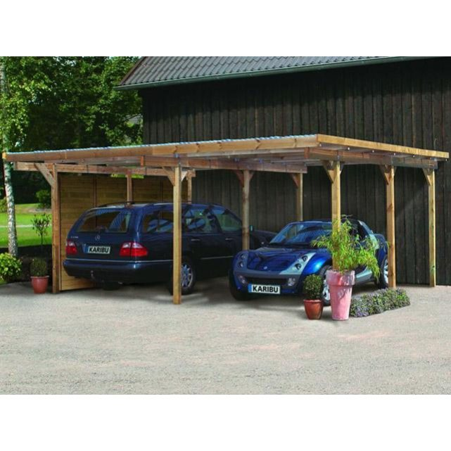 karibu carport eco 1 double bois 563 x 490 x 229cm. Black Bedroom Furniture Sets. Home Design Ideas