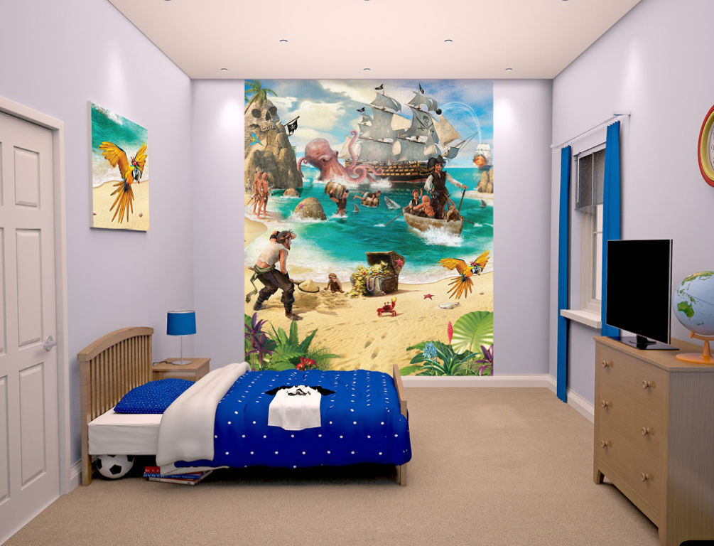 walltastic papier peint mural pirates 203 x 244 cm. Black Bedroom Furniture Sets. Home Design Ideas