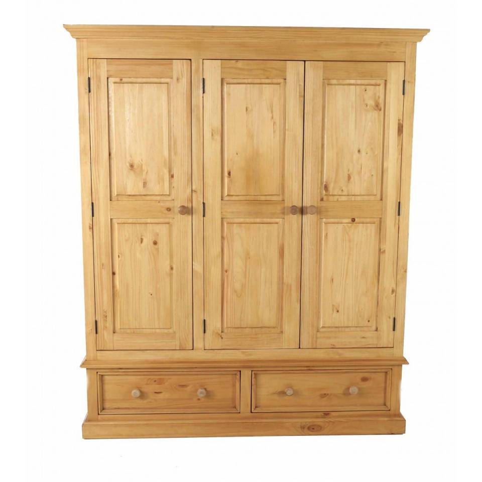 couleurs carmoire penderie en pin 3 portes 2 tiroirs. Black Bedroom Furniture Sets. Home Design Ideas