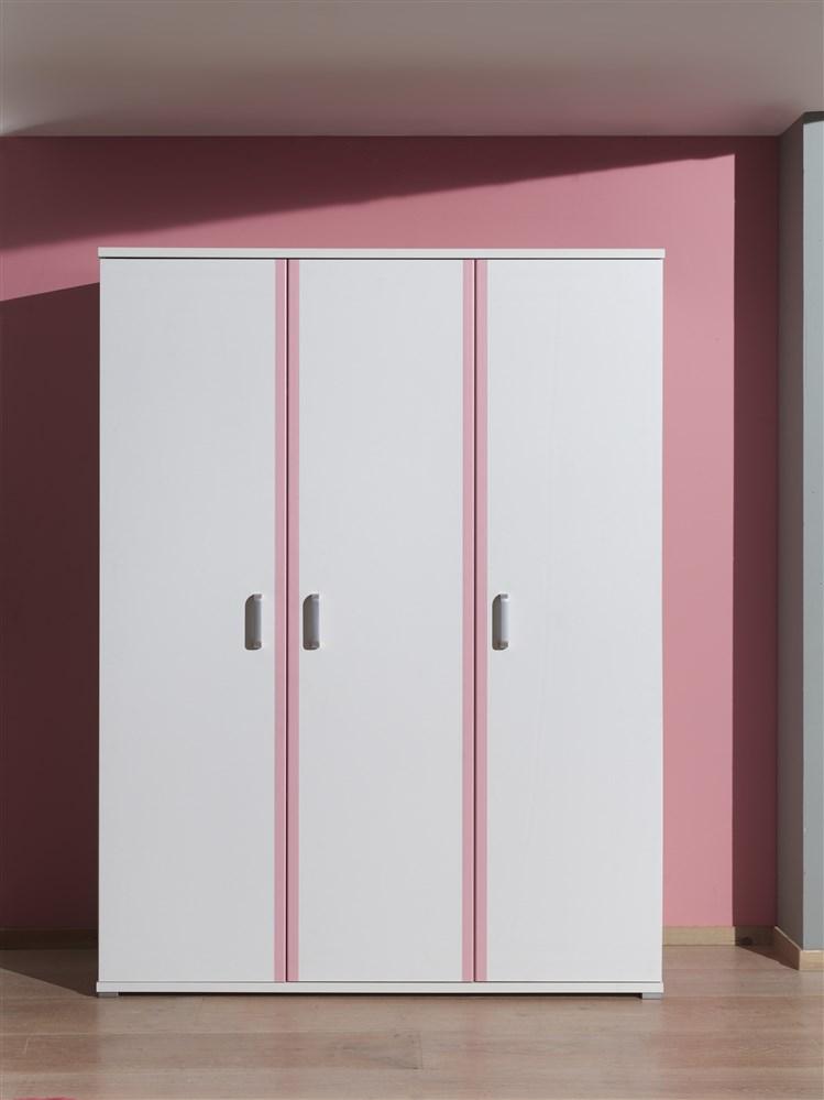 swithome carmoire 3 portes valentine laqu blanc rose. Black Bedroom Furniture Sets. Home Design Ideas
