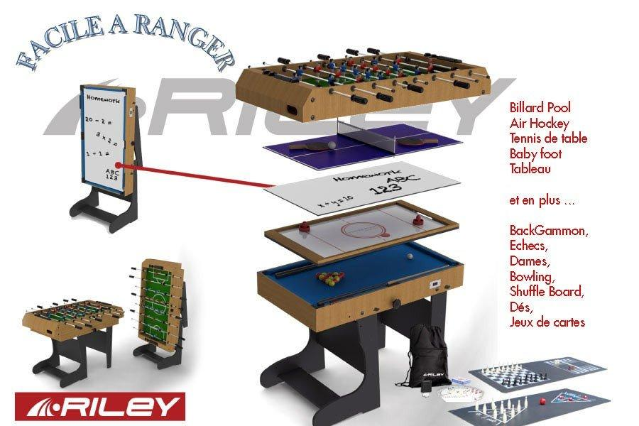 Riley 12 en 1 pliable bois w470f table multi jeux - Table multi jeux 12 en 1 ...