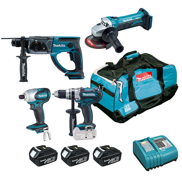 makita csoldes kit 4 outils 18 v lxt dk18043. Black Bedroom Furniture Sets. Home Design Ideas