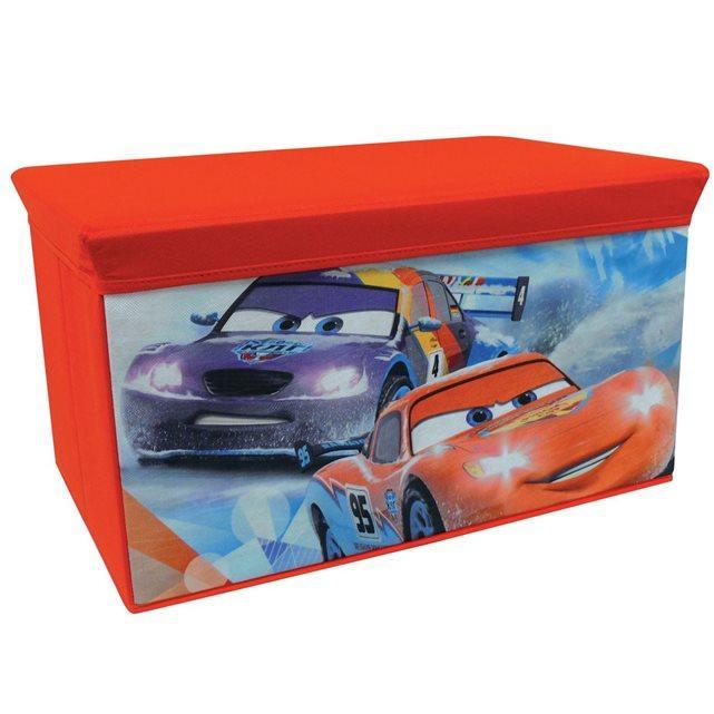 banc coffre jouets en tissu pliable cars disney. Black Bedroom Furniture Sets. Home Design Ideas