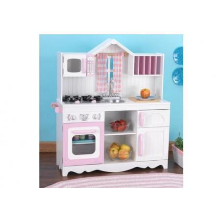 kidkraft cuisine enfant campagnarde moderne rose et blanche. Black Bedroom Furniture Sets. Home Design Ideas