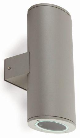 Faro clampe murale d extrieur piston gris 2 lumires for Applique murale exterieur piston