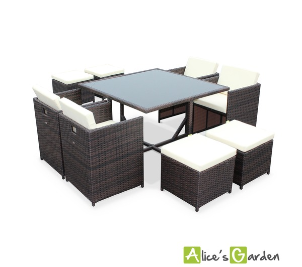 alice cs garden salon de jardin vasto chocolat table en. Black Bedroom Furniture Sets. Home Design Ideas