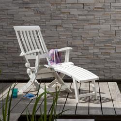 Grosfillex cchaise longue avec repose pieds atlantic coloris for Chaise longue jardin grosfillex