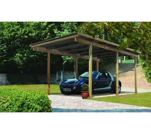 karibu carport simple en pin autoclave avec toit pvc 14 9m2 catgorie abri de jardin. Black Bedroom Furniture Sets. Home Design Ideas