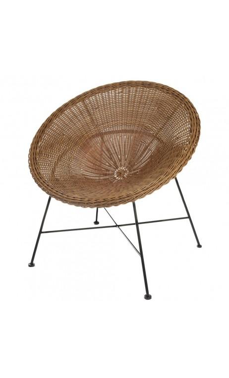 la fauteuil en mtal noir et pstique imitation rotin. Black Bedroom Furniture Sets. Home Design Ideas