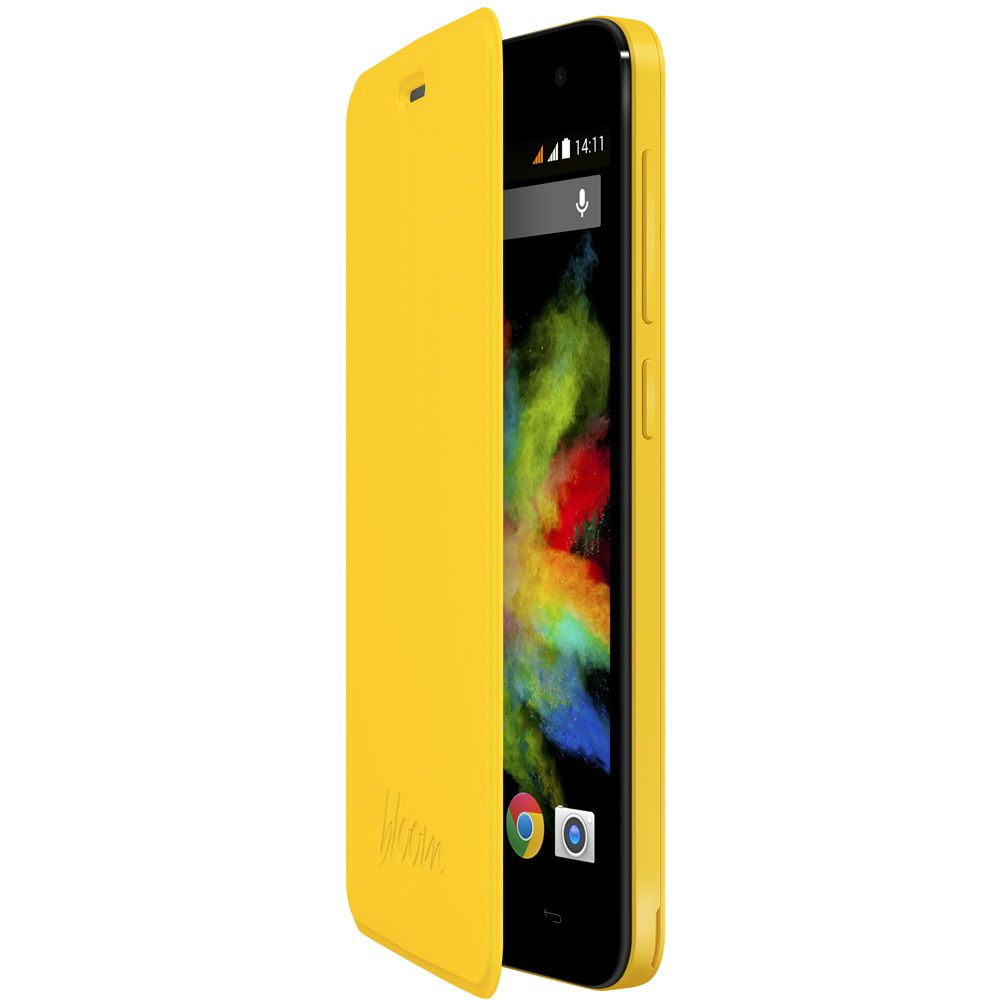 Wiko etui folio avec stand jaune pour bloom for Housse telephone wiko