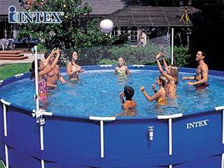 intex filet de volley avec panier basket piscine. Black Bedroom Furniture Sets. Home Design Ideas