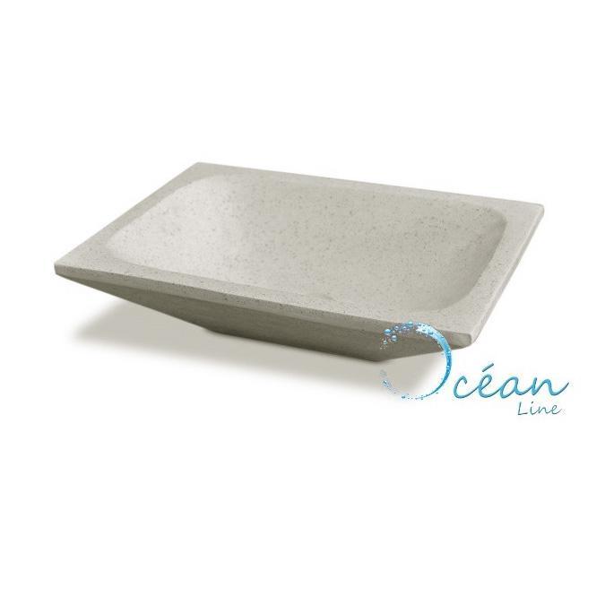 vasque poser quadra rectangle blanc cass en terrazzo. Black Bedroom Furniture Sets. Home Design Ideas