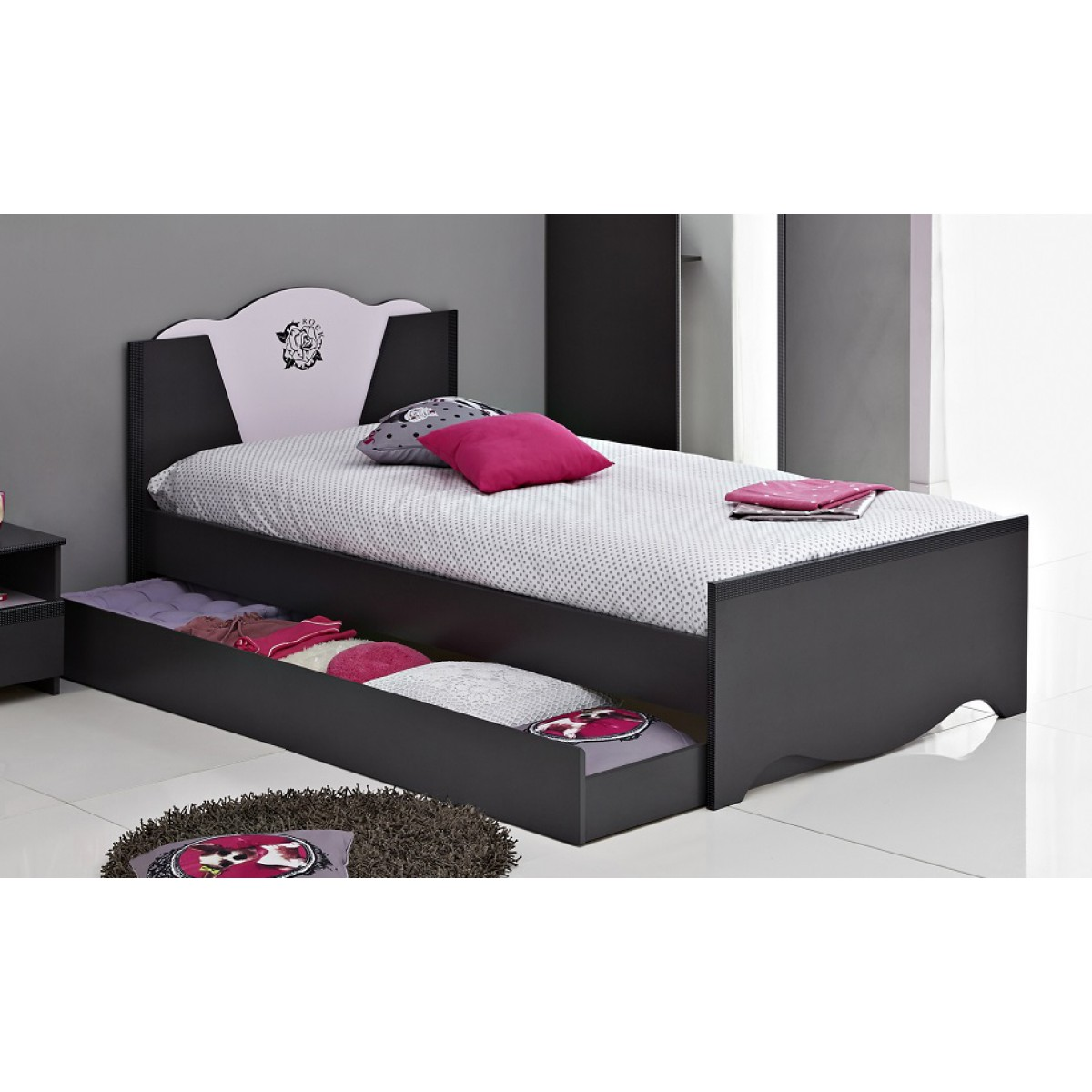 terre lit en bois 90x200 avec tiroirs gris ombre rose dr. Black Bedroom Furniture Sets. Home Design Ideas