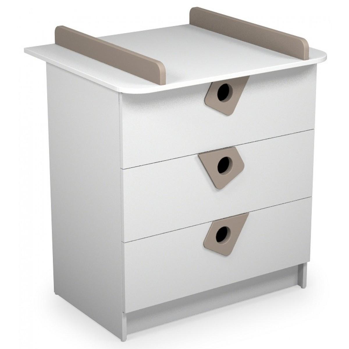Atelier commode langer b b blanc et taupe t4 for Meuble a langer