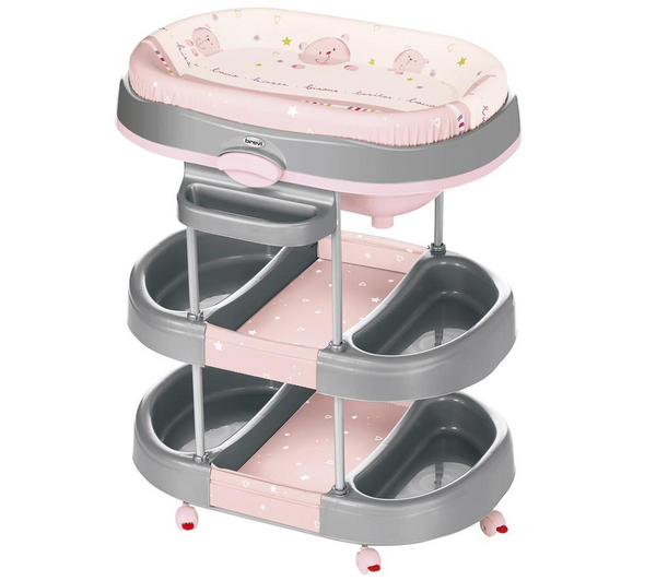 brevi table langer avec baignoire acqua bisous rose. Black Bedroom Furniture Sets. Home Design Ideas