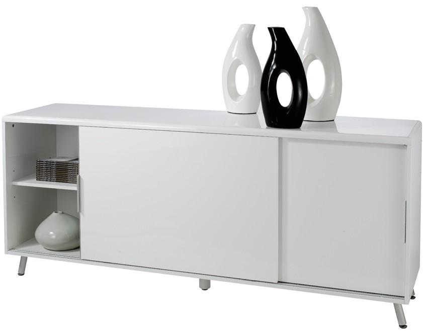 id buffet laqu blanc 2 portes coulissantes l a clik. Black Bedroom Furniture Sets. Home Design Ideas