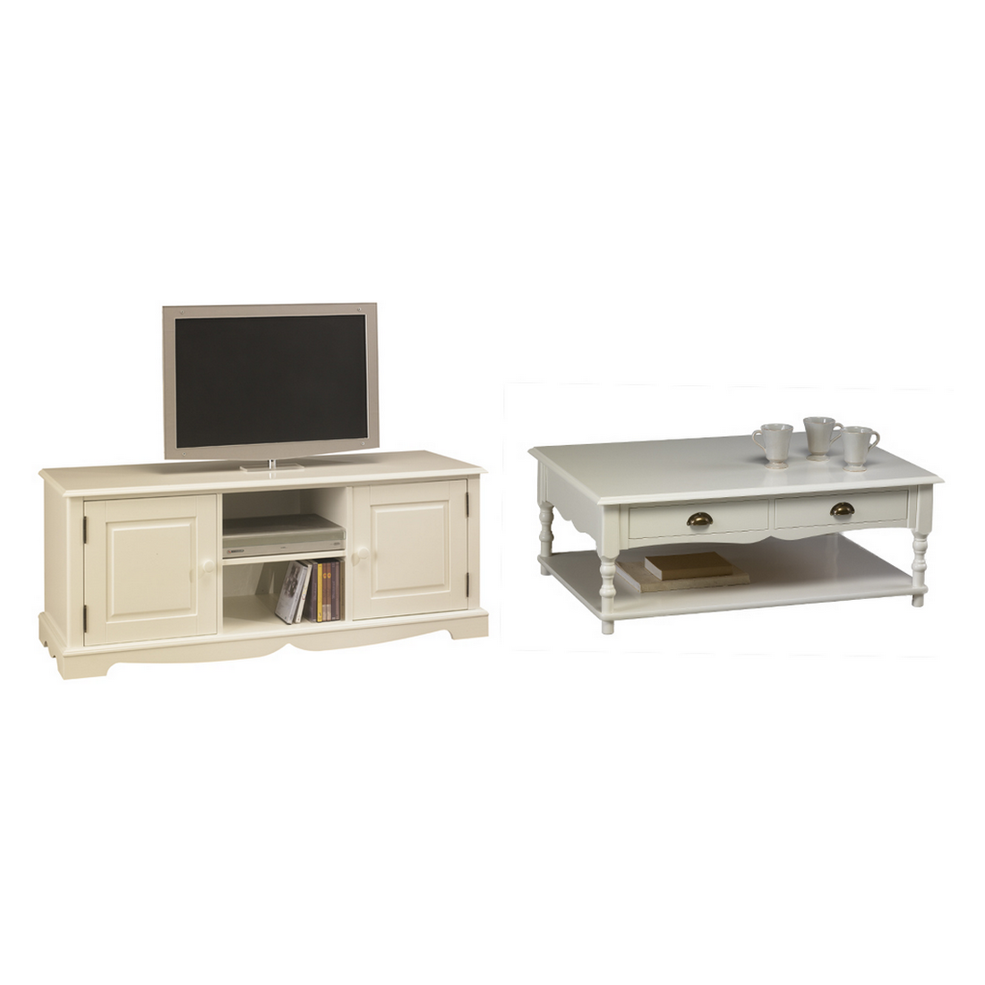 Beaux censemble meuble tv et table basse blancs meuble for Meuble table basse