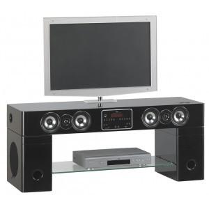Hdw meuble tv home cinema karaok station ipod iphone noir for Meuble tv kaorka