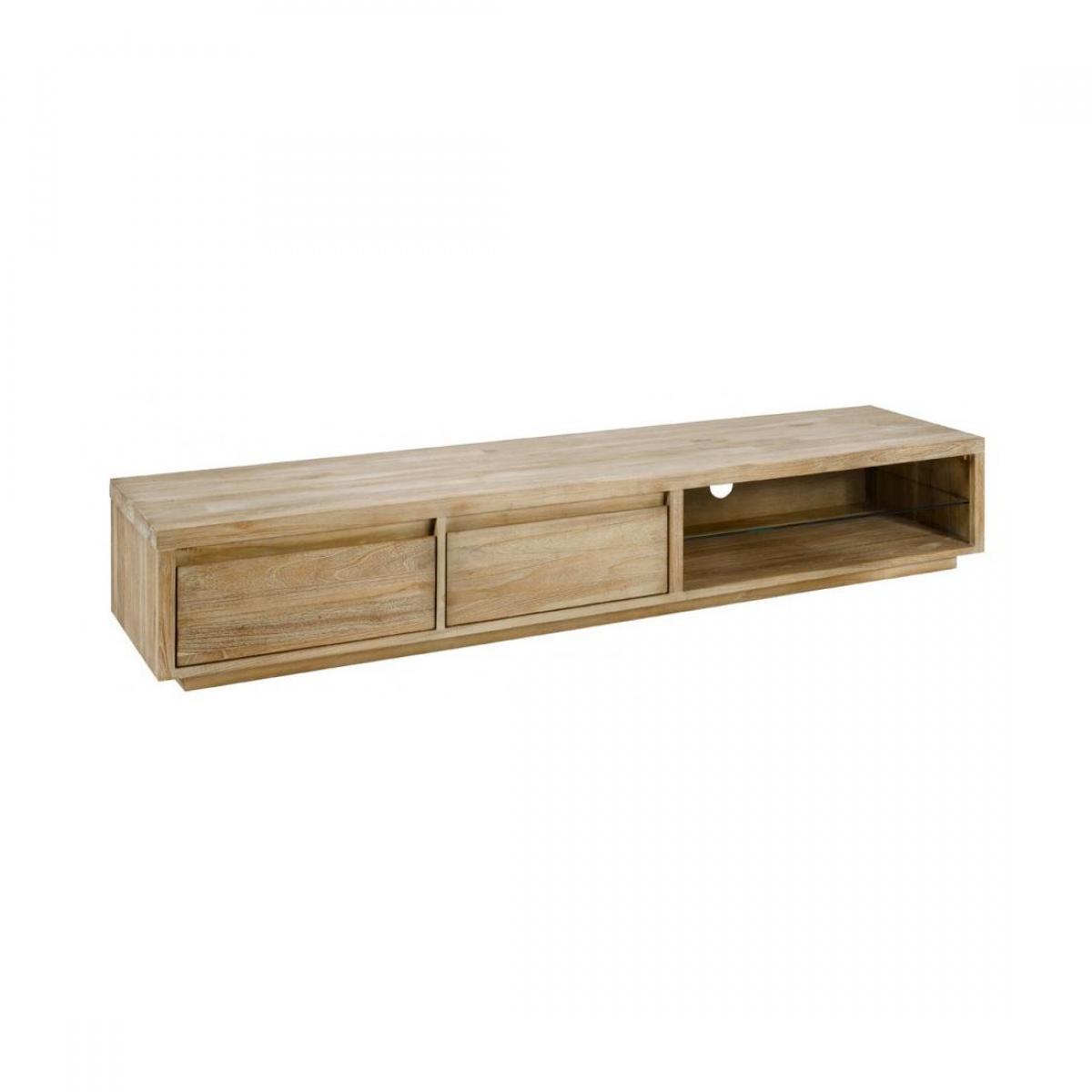 Zago meuble tv teck lin 2 niches 2 tiroirs cosmopolitan for Meuble tv zago
