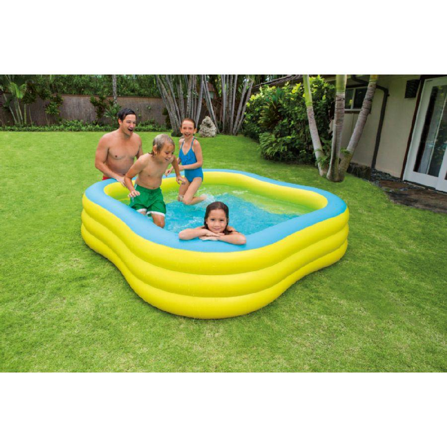 Intex piscine gonflable carr wave swim center pool for Piscine intex liner