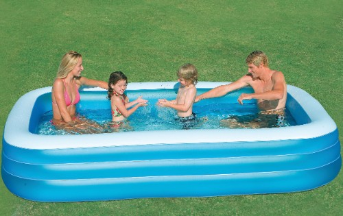 Intex piscine rectangulaire family grand modle for Piscine gonflable intex
