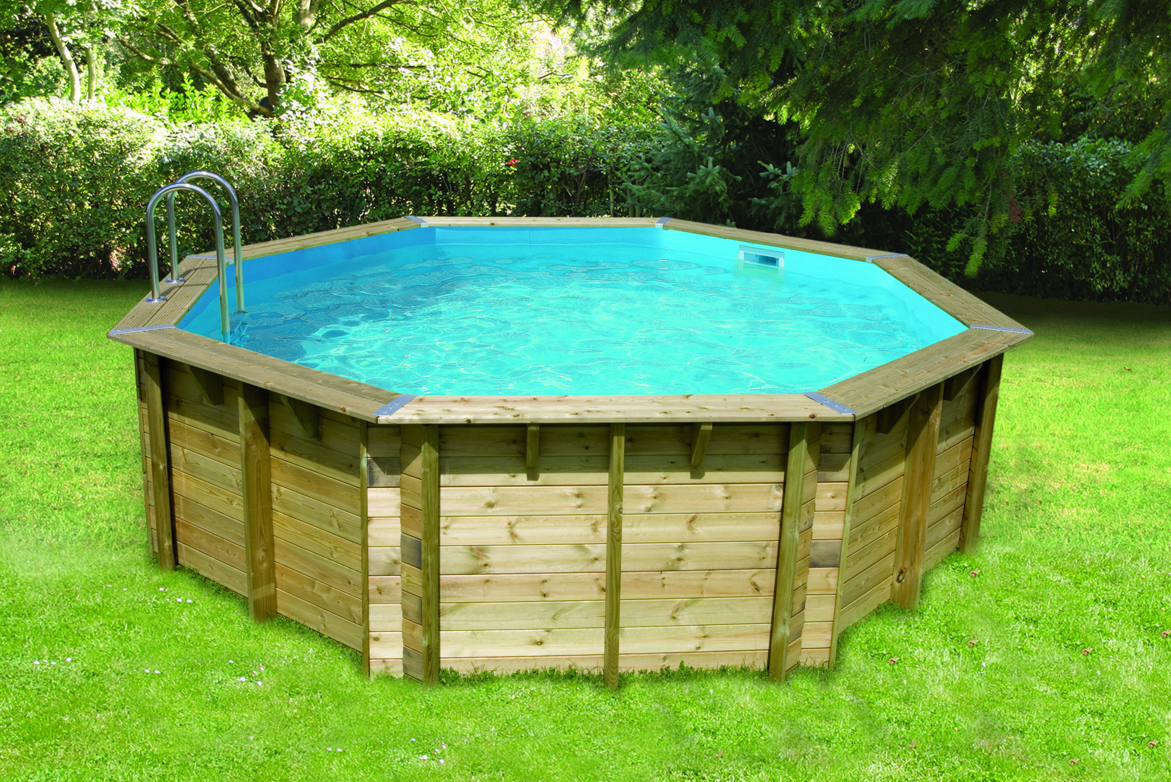Nortland bois ubbink ocea ronde en kit 580x130 cm for Kit piscine en bois