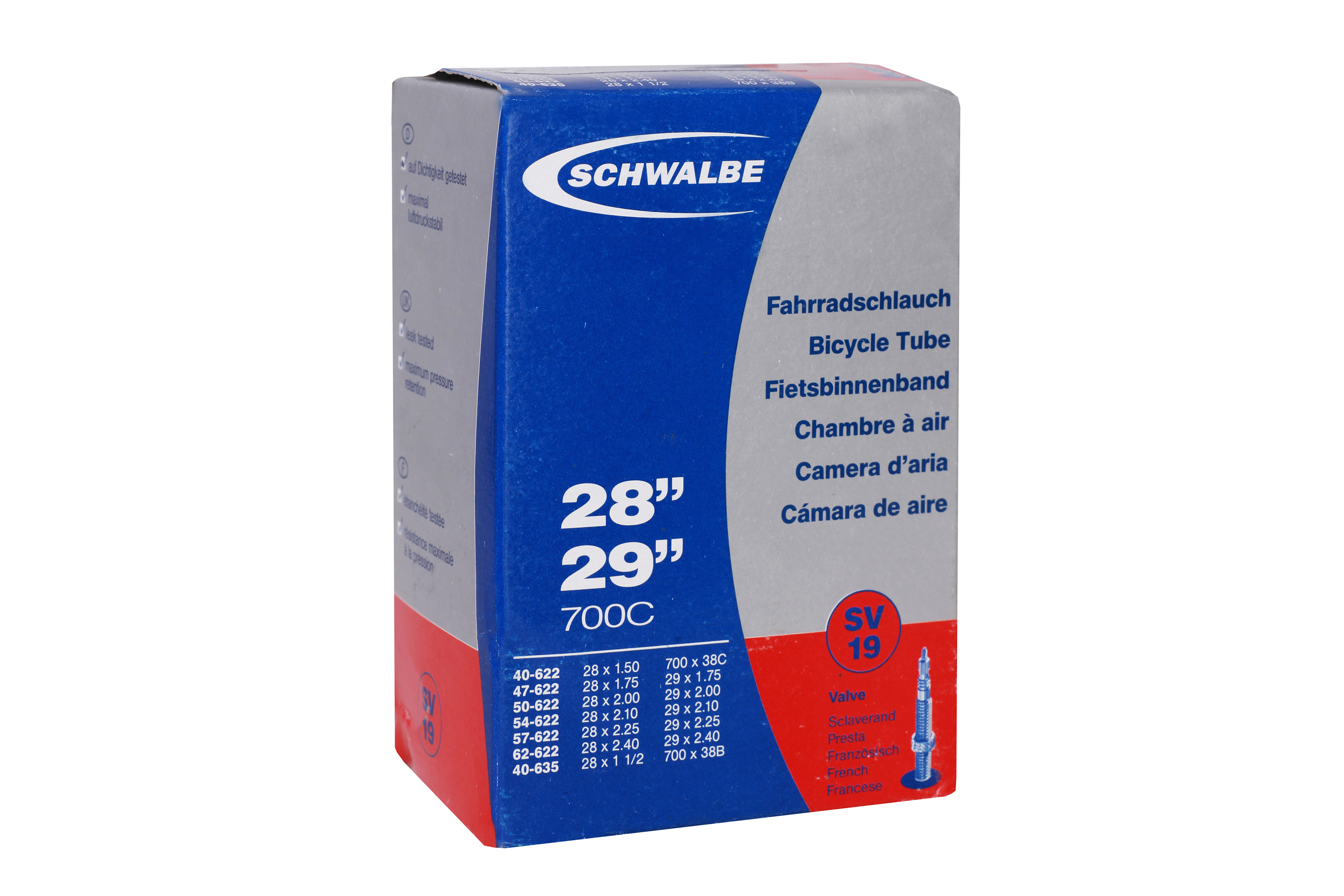 Schwalbe c chambre air sv12 presta cat gorie for Chambre a air 26x1 75