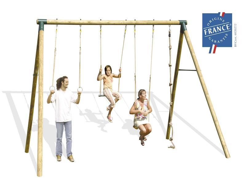 Trigano cgrand portique bois 3 00 m adultes ados for Portique exterieur bebe