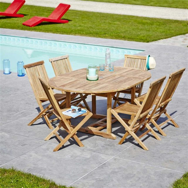 Gardenandco c salon de jardin en aluminium ensemble - Salon de jardin en teck garden and co ...
