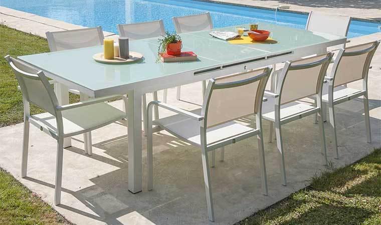 table de jardin alu et verre avec rallonge table en aluminium avec rallonge automatique. Black Bedroom Furniture Sets. Home Design Ideas