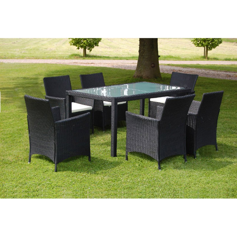 vidaxl ensemble table 6 chaises rotin noir. Black Bedroom Furniture Sets. Home Design Ideas