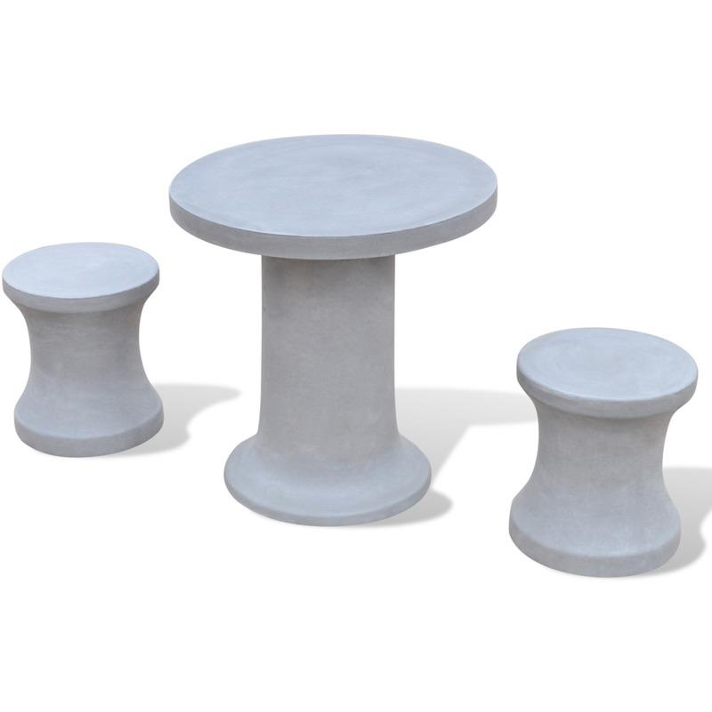 Vidaxl set de 1 table et 2 tabourets en b ton - Salon de jardin beton ...