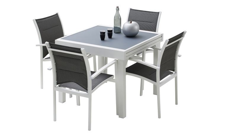 Wilsa salon de jardin modulo alu 8 12 places gris garden for Table 4 en 1