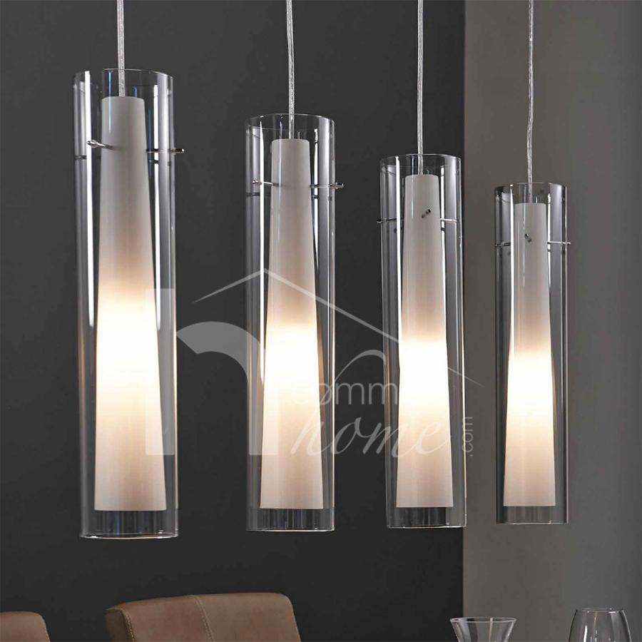 Luminaire Suspension Design En Nickel Chrom Verre Yona 4 Lampes ...