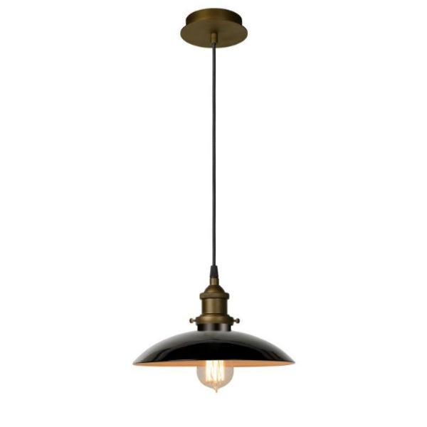 lucide c lampe suspendue bistro pavillon d25 cm noir. Black Bedroom Furniture Sets. Home Design Ideas