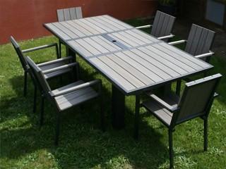 Dcb table de jardin alu et composite clai - Table jardin zellige pas cher lille ...
