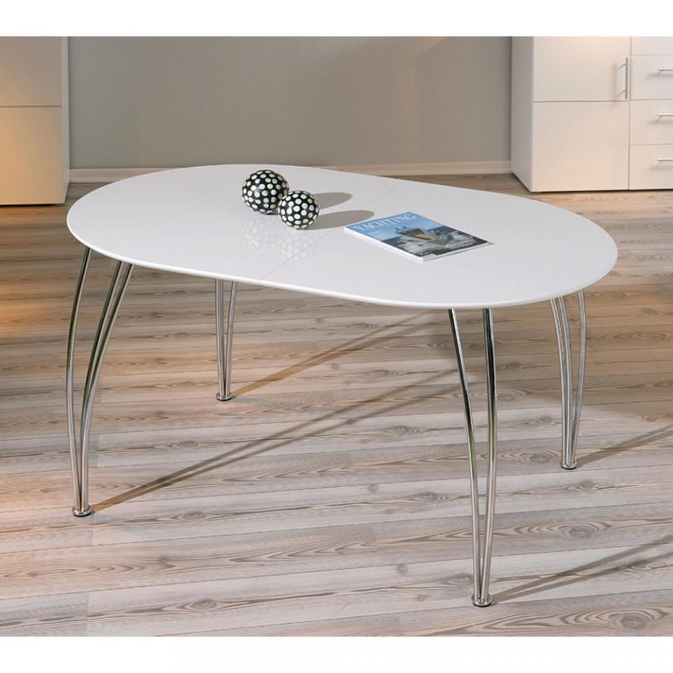 table ovale rallonge ovali 140 180 cm blanc mtal. Black Bedroom Furniture Sets. Home Design Ideas